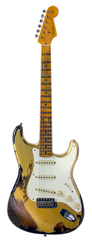 GUITARRA FENDER 57 STRATOCASTER HEAVY RELIC 2018 LTD EDITION 923-1009-550 HLE GOLD OVER 2TSB